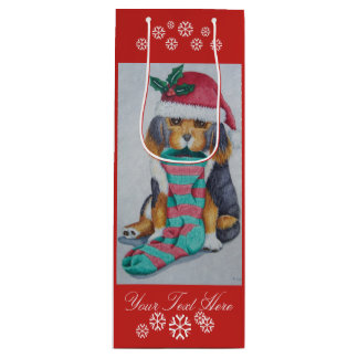 cute black and brown puppy with christmas stocking wine gift bag