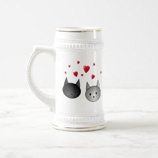 Cute Black and Gray Cats, with Hearts. Beer Stein