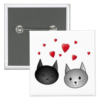 Cute Black and Gray Cats with Hearts Pinback Button