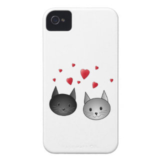 Cute Black and Gray Cats, with Hearts. iPhone 4 Covers
