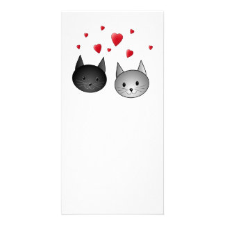 Cute Black and Gray Cats, with Hearts. Custom Photo Card