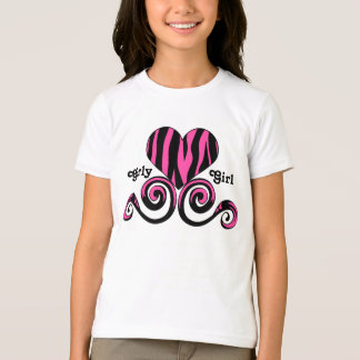 Cute black and hot pink girly zebra striped heart T-Shirt