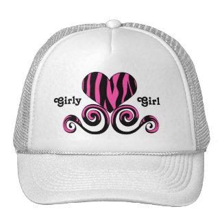 Cute black and hot pink girly zebra striped heart trucker hat