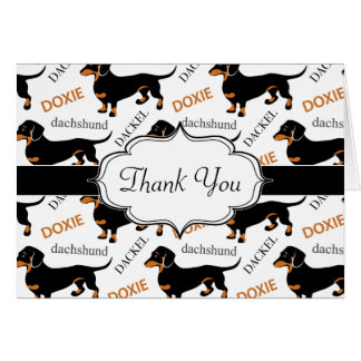 Cute Black and Tan Dachshund Pattern Card