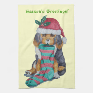 cute black and tan puppy with christmas stocking kitchen towel