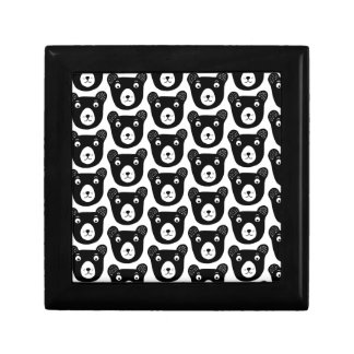 Cute black and white bear illustration pattern gift box