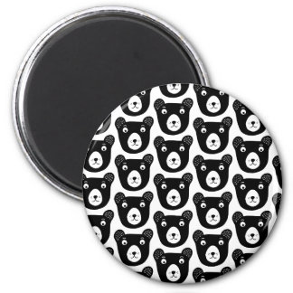 Cute black and white bear illustration pattern magnet