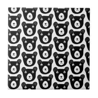 Cute black and white bear illustration pattern tile