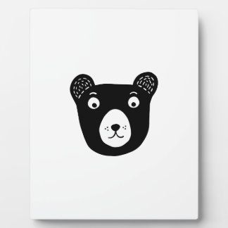 Cute black and white bear illustration plaque