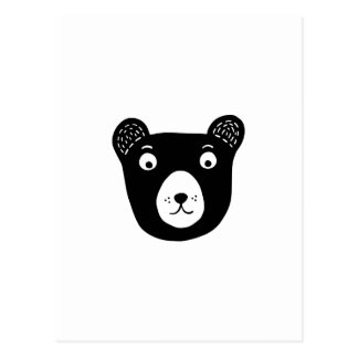 Cute black and white bear illustration postcard