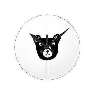 Cute black and white bear illustration round clock