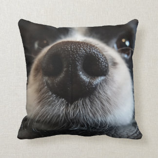 Cute Black and White Border Collie Nose Closeup Throw Pillow
