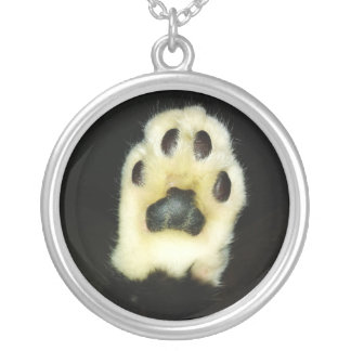 Cute Black and White Cat Paw Silver Plated Necklace