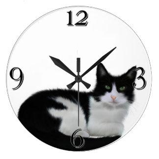 Cute Black And White Cat Wall Clock