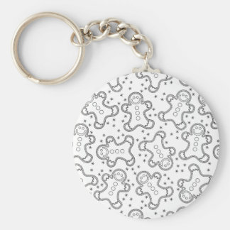 Cute Black and White Christmas Gingerbreads Keychain