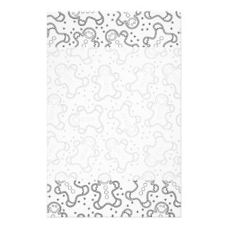Cute Black and White Christmas Gingerbreads Stationery