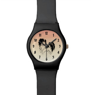 Cute Black and White Dog on Orange Wrist Watch