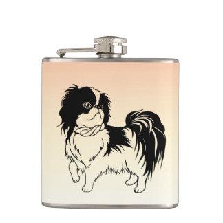 Cute Black and White Dog Orange Flask