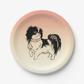 Cute Black and White Dog Orange Paper Plates