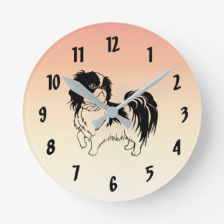 Cute Black and White Dog Orange Wall Clock