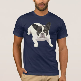 Cute Black and White French Bulldog on Blue Back T-Shirt