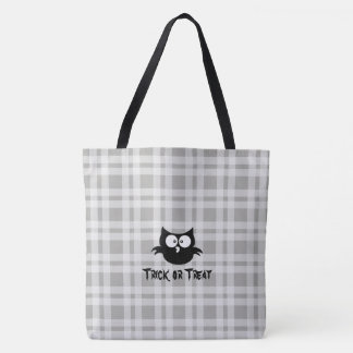 Cute Black And White Halloween Trick Or Treat Owl Tote Bag