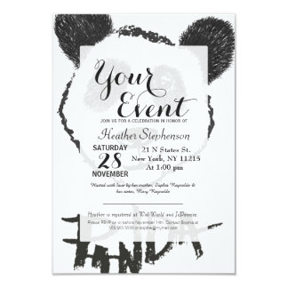 "Cute Black and White Hand Drawn Panda Typography 3.5"" X 5"" Invitation Card"