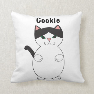 Cute Black and White Kitty Cat Personalize Throw Pillow