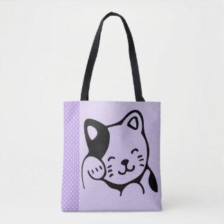 Cute Black and White Kitty Cat Waving Hello Tote Bag