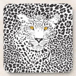 Cute Black And White Leopard Beverage Coasters