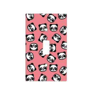 Cute Black and White Panda Cartoon Pattern Light Switch Cover