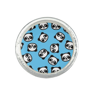 Cute Black and White Panda Cartoon Pattern Ring