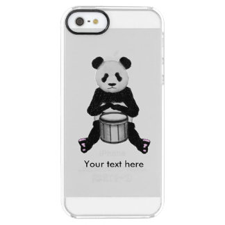 Cute BLack and White Panda Drummer Clear iPhone SE/5/5s Case