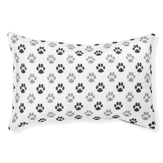 Cute Black And White Paw Prints Pattern Pet Bed
