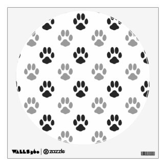 Cute Black And White Paw Prints Pattern Wall Decal