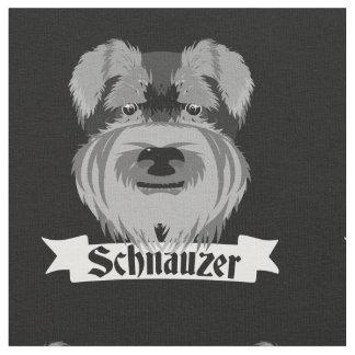 Cute Black and White Schnauzer Fabric