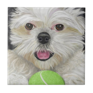Cute Black and White Shih Tzu with a Tennis Ball Ceramic Tiles