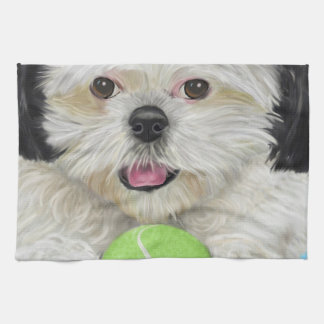 Cute Black and White Shih Tzu with a Tennis Ball Hand Towels