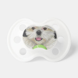 Cute Black and White Shih Tzu with a Tennis Ball Pacifier