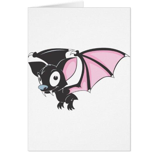 Cute Black Bat Vampire Cartoon Shirt Card