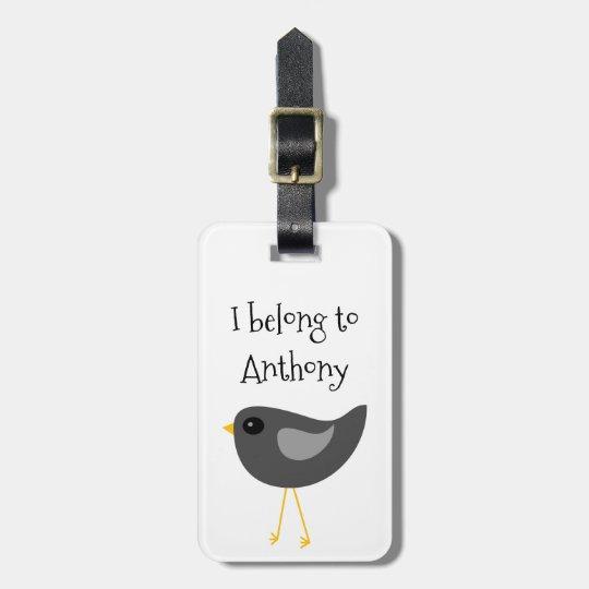 Cute black bird luggage tag