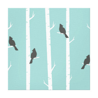 Cute Black Birds Perched on Birch Trees Canvas Print