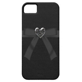 Cute Black Bow & Jewel Heart iPhone 5 Case