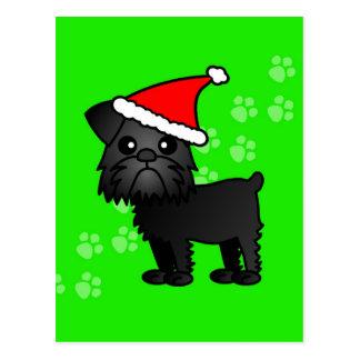 Cute Black Brussels Griffon Cartoon Santa Hat Postcard