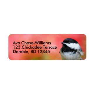 Cute Black-Capped Chickadee on the Apple Tree Return Address Label