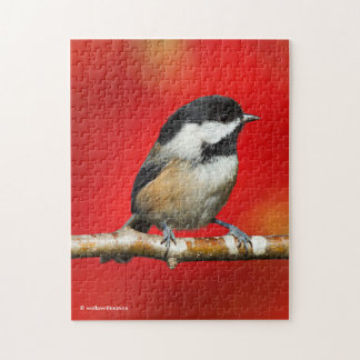 Cute Black-Capped Chickadee with Red Autumn Leaves Jigsaw Puzzle