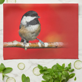 Cute Black-Capped Chickadee with Red Autumn Leaves Kitchen Towel