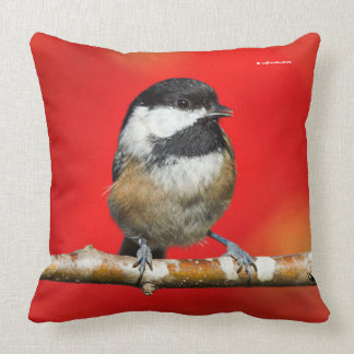 Cute Black-Capped Chickadee with Red Autumn Leaves Throw Pillow