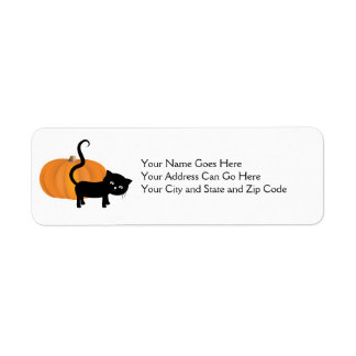 Cute black cat and pumpkin address sticker return address label