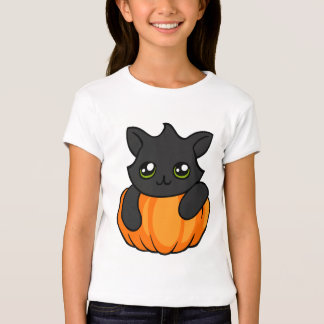 Cute Black Cat and Pumpkin Halloween Girl's Shirt